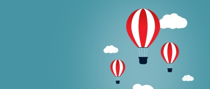 Creative Start and Start-Up Concept with Hot Air Balloons - Copyspace